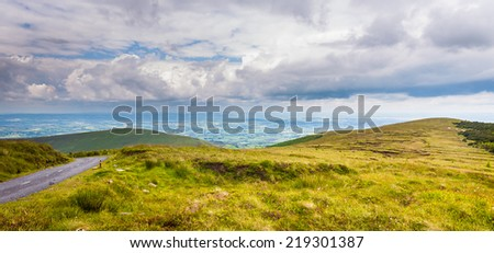 Hillside of Mt Leinster and road in Carlow - stock photo