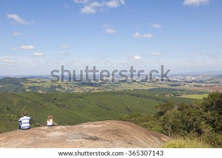 Hilltop view of Campinas, Brazil - stock photo