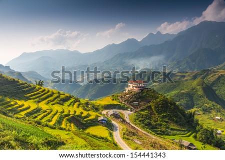 Hilltop village, Muong Hoa valley terraced fields, Sa Pa Town, Vietnam  - stock photo