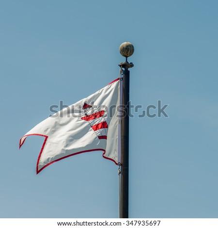 hilton head harbor town lighthouse flag - stock photo