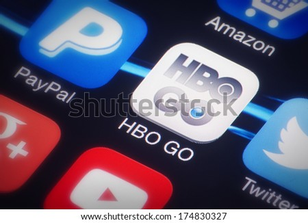 HILVERSUM, NETHERLANDS - FEBRUARY 03, 2014: HBO (Home Box Office) is a US premium cable and satellite television network that is owned by Home Box Office Inc. an operating subsidiary of Time Warner. - stock photo