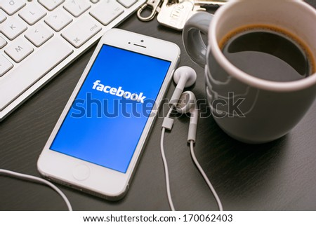 HILVERSUM, NETHERLANDS - JANUARY 06, 2014: Facebook is an online social networking service founded in February 2004 by Mark Zuckerberg with his college roommates and is now a fortune 500 company. - stock photo