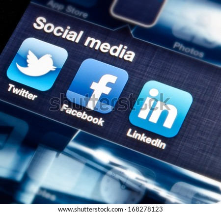 HILVERSUM, NETHERLANDS - SEPTEMBER 18, 2012: social media are trending and both business as consumer are using it for information sharing and networking. - stock photo