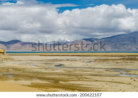 Himalaya mountain landscape. The Tibetan Plateau - stock photo