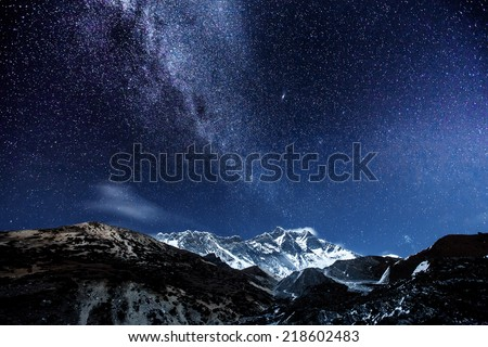 himalaya mountain with star in night time - stock photo