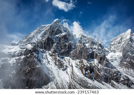 Himalaya mountains in Nepal - stock photo