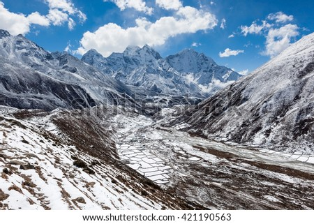Himalaya mountains valley in snow. Sagarmatha National Park, Himalaya mountains, Nepal. Beautiful landscape with Himalaya mountains and highland fields under snow on sunny day. - stock photo