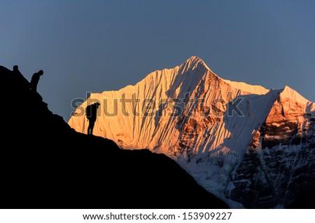 Himalaya sunset,Nepal - stock photo