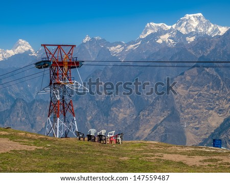 Himalayan camp in the early morning, India. - stock photo