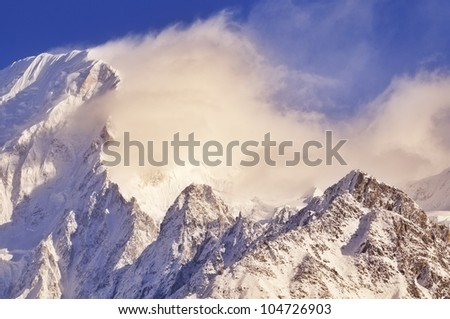 Himalayan mountain at sunrise. - stock photo