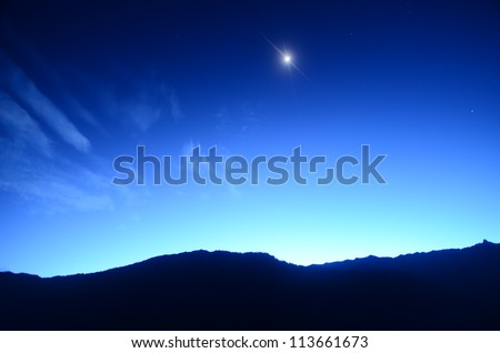 Himalayan Mountains about to sun rise - stock photo