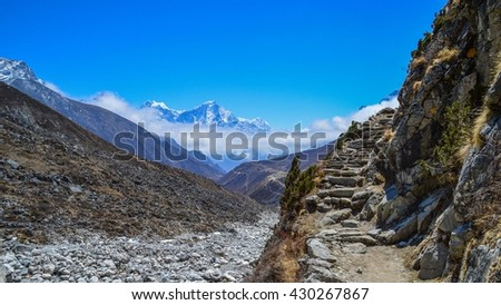 Himalayan mountains, around the Gokyo Lakes, Nepal - stock photo