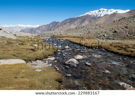 Himalayan river , Ladakh, India.(Himalayan landscape) - stock photo