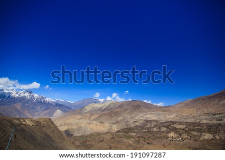 Himalayan view from Muktinath in Upper Mustang , Annapurna conservation area, Nepal  - stock photo