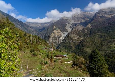 Himalayan View in Nepal - stock photo