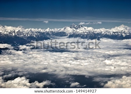Himalayas and Mount Everest - stock photo
