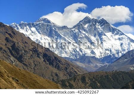 Himalayas mountain landscape. Mt. Everest in Himalayas, Nepal. - stock photo
