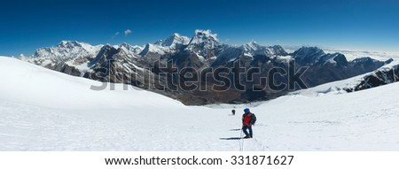 Himalayas mountain range near Mera Peak Summit - stock photo