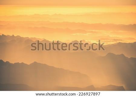 Himalayas mountains Everest range panorama aerial view - stock photo