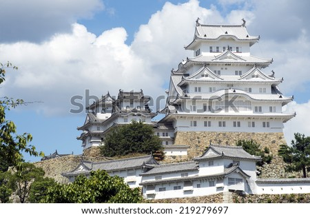 Himeji Castle - a hilltop castle complex located in Himeji, Japan. The castle is regarded as the finest surviving example of Japanese castle architecture. It is a UNESCO World Heritage Site-2 - stock photo