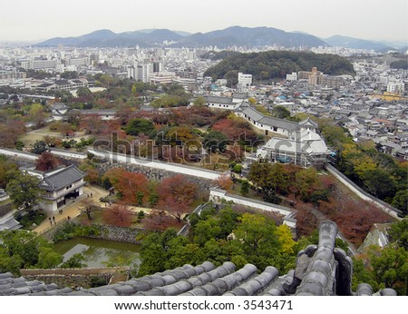 Himeji City, viewed from Himeji Tower - stock photo