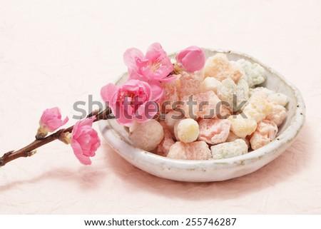 Hina arare, sweet rice cracker for Dollsa festival - stock photo
