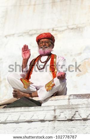 hindi man blessing - stock photo