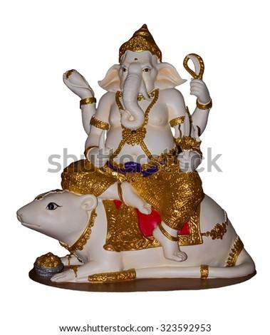 Hindu God Ganesh on white background.  - stock photo