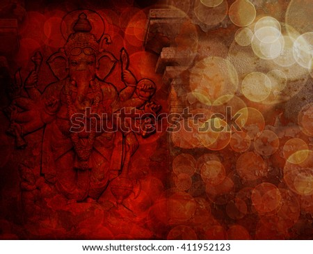Hindu God Ganesh with Many Arms Carved Wall Relief on Exterior of Hindu Temple in Red Grunge Texture Background - stock photo