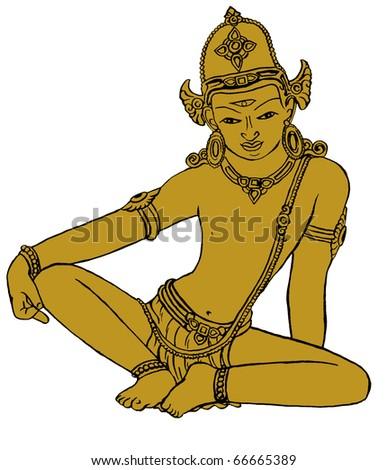 Hindu god Indra - stock photo