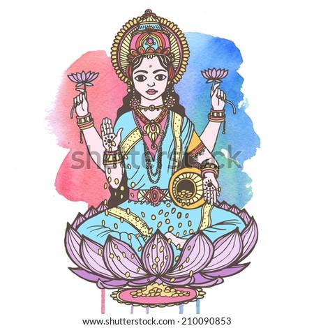 Hindu goddess lakshmi of wealth, prosperity, fortune, and the embodiment of beauty. Raster hand drawn illustration. - stock photo