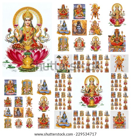 hindu gods collage ( Lakshmi, Krishna,Hanuman,Shiva, etc. ) - stock photo