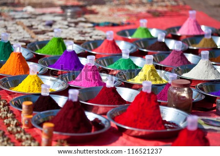 Hindu paints at the Indian market - stock photo