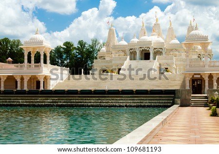 Hindu temple, BAPS Swaminarayan Sanstha Shri Swaminarayan Mandir in Atlanta GA - stock photo