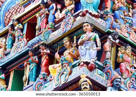 Hindu temple Sri Mariamman in Singapore  - stock photo