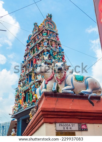 Hindu temple with cow statues at Pagoda street Singapore. - stock photo