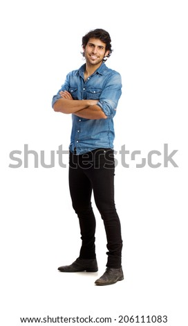 Hindu young satisfied man - stock photo