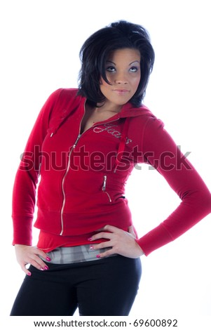 Hip African American woman in red pullover - stock photo