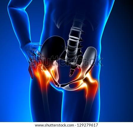 Hip Bone - Pain in Hip Bone - Hurt Hip Bone - stock photo