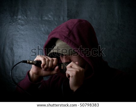 Hip Hop Artist singing - stock photo