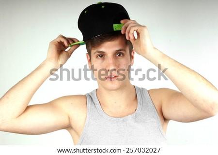 Hip hop boy portrait - stock photo