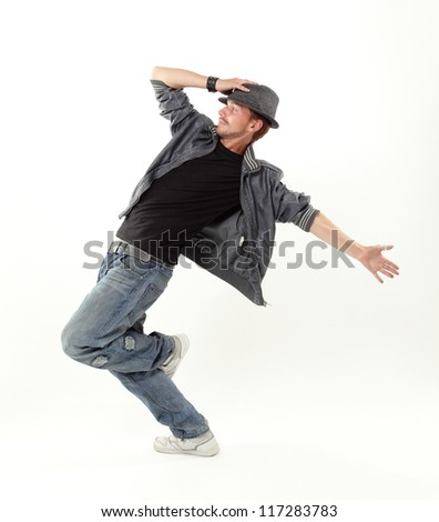 hip hop dancer isolated over white background - stock photo