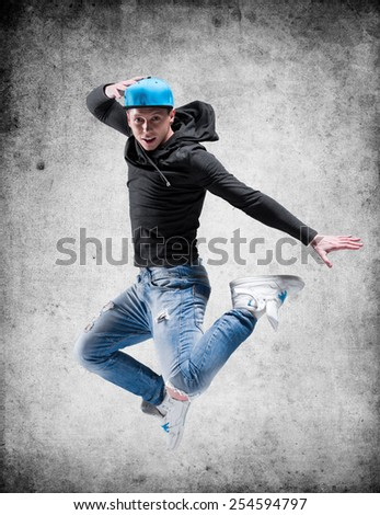 hip-hop dancer jump - stock photo
