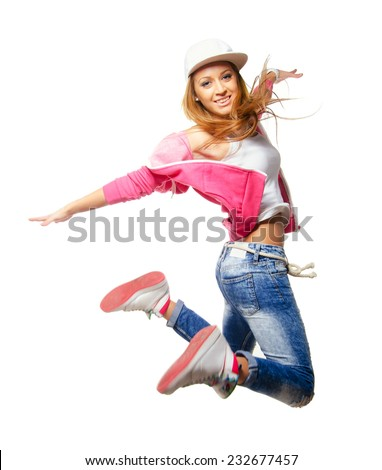 Hip hop dancer jumping high in the air isolated on white background. - stock photo