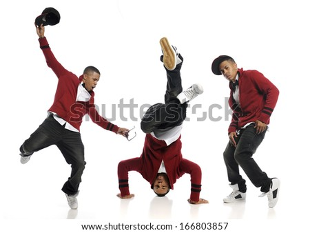 Hip Hop Dancer performing isolated on a white background - stock photo