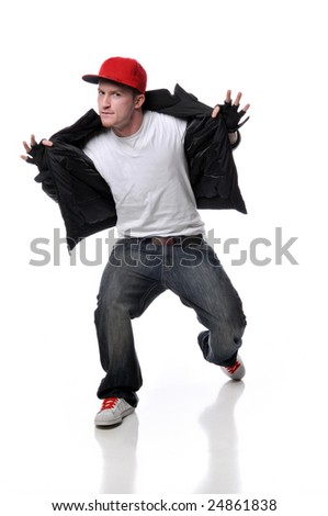 Hip Hop style dancer performing isolated against a white background - stock photo