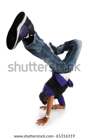 Hip Hop Style Dancer performing isolated on a white background - stock photo