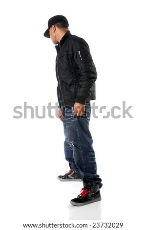 Hip hop young man standing isolated over a white background - stock photo