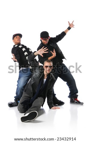 Hip Hop young men dancing isolated over a white background - stock photo