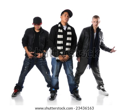 Hip Hop young men standing isolated over a white background - stock photo